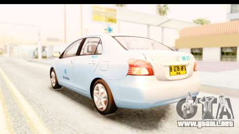 Toyota Vios 2008 Taxi Blue Bird para GTA San Andreas left