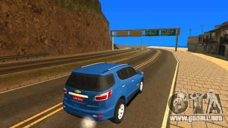 Chevrolet TrailBlazer 2015 LTZ para GTA San Andreas vista hacia atrás