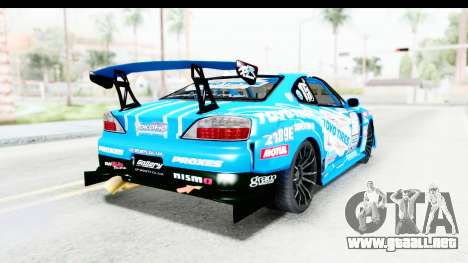 Nissan Silvia S15 D1GP Blue Toyo Tires para GTA San Andreas vista posterior izquierda