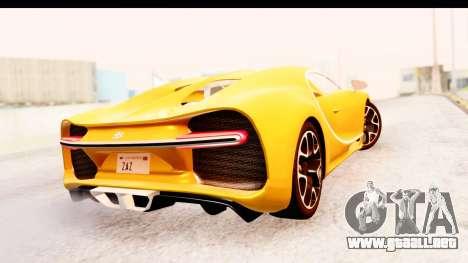 Bugatti Chiron 2017 v2.0 Updated para GTA San Andreas vista hacia atrás