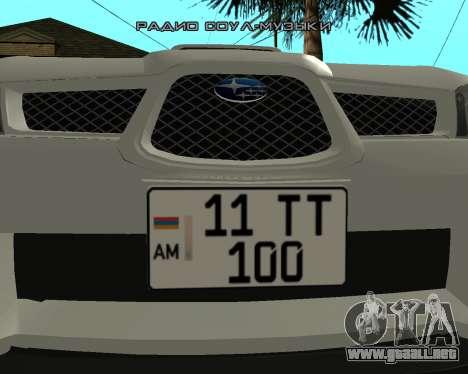 Subaru Impreza Armenian para GTA San Andreas vista posterior izquierda