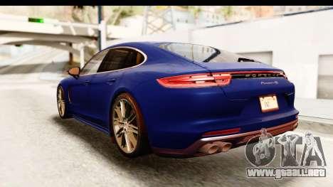Porsche Panamera 4S 2017 v4 para GTA San Andreas vista posterior izquierda