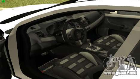 Mitsubishi Lancer X GVR para GTA San Andreas vista hacia atrás