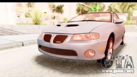 Pontiac GTO 2006 para GTA San Andreas vista posterior izquierda