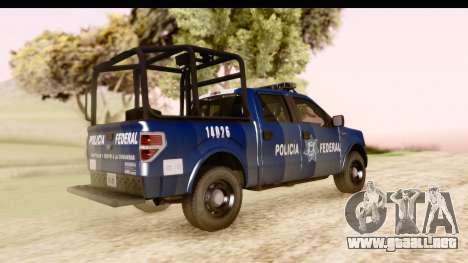 Ford F-150 Policia Federal para GTA San Andreas vista posterior izquierda