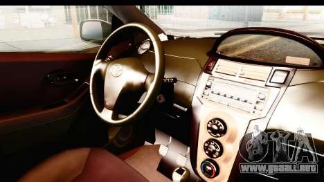 Toyota Vios 2008 Taxi Blue Bird para visión interna GTA San Andreas