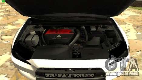 Mitsubishi Lancer X GVR para visión interna GTA San Andreas