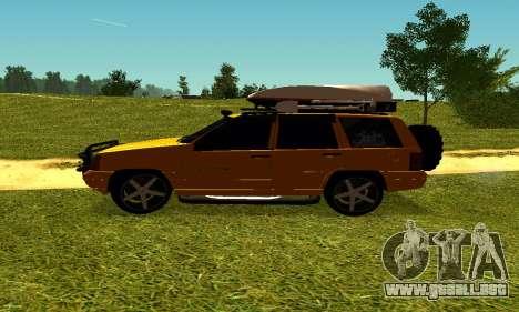 Jeep Grand Cherokee para GTA San Andreas vista hacia atrás