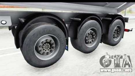 Trailer Volvo Dumper para GTA San Andreas vista hacia atrás