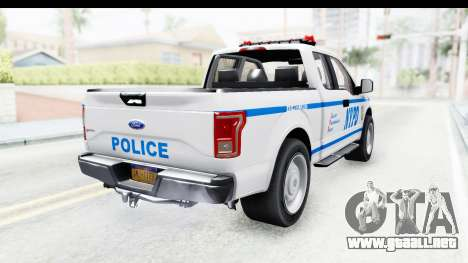 Ford F-150 Police New York para GTA San Andreas vista posterior izquierda
