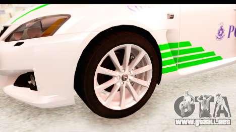 Lexus IS F PDRM para GTA San Andreas vista hacia atrás