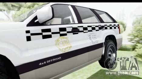 GTA 5 Canis Seminole Taxi Milspec para GTA San Andreas vista hacia atrás