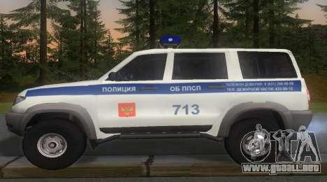UAZ Patriot de la Policía v1 para GTA San Andreas left