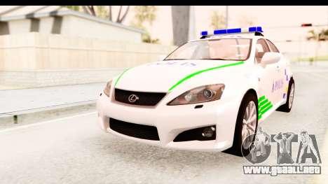 Lexus IS F PDRM para la visión correcta GTA San Andreas
