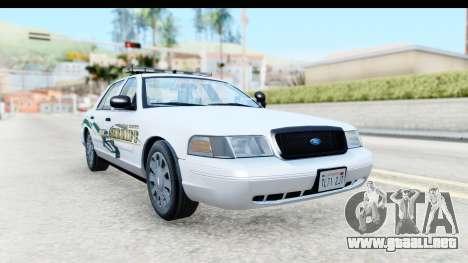 Ford Crown Victoria 2009 Southern Justice para la visión correcta GTA San Andreas