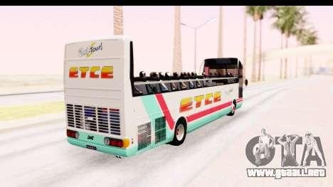 Bus Tours Dic Megadic 4x2 ETCE para GTA San Andreas vista posterior izquierda