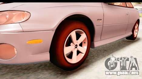 Pontiac GTO 2006 para GTA San Andreas vista hacia atrás