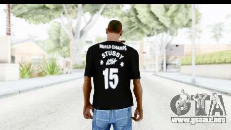 Stussy Black T-Shirt para GTA San Andreas segunda pantalla