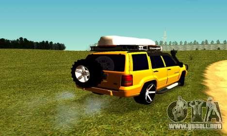Jeep Grand Cherokee para GTA San Andreas vista posterior izquierda