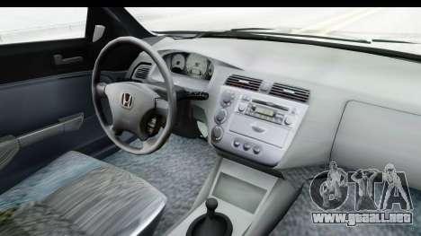 Honda Civic Vtec para visión interna GTA San Andreas
