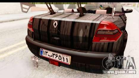 Renault Megane Spyder Full Tuning v2 para vista inferior GTA San Andreas