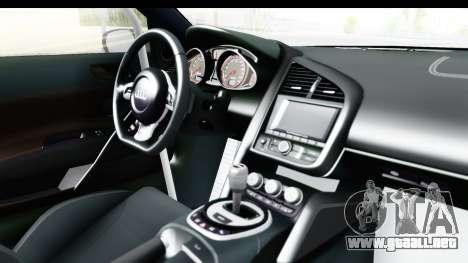 Audi R8 V10 Plus 5.2 FSi 2013 LB Perfomance para visión interna GTA San Andreas