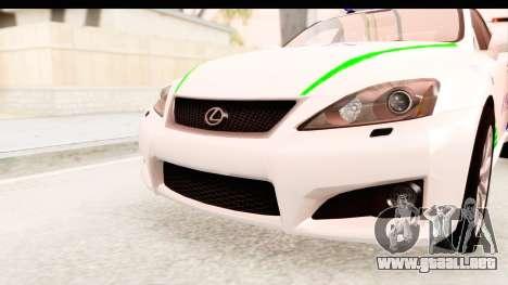 Lexus IS F PDRM para vista lateral GTA San Andreas
