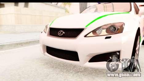 Lexus IS F PDRM para la vista superior GTA San Andreas