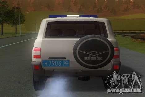 UAZ Patriot de la Policía v1 para GTA San Andreas vista posterior izquierda