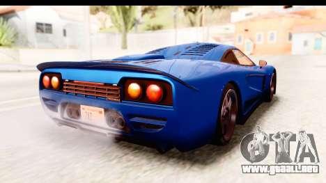 GTA 5 Progen Tyrus IVF para GTA San Andreas vista posterior izquierda