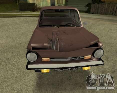 Zaz 968M armenia para la vista superior GTA San Andreas