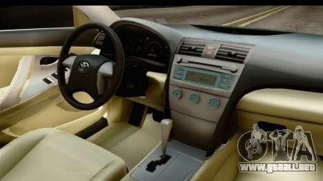 Toyota Camry GL 2011 para visión interna GTA San Andreas