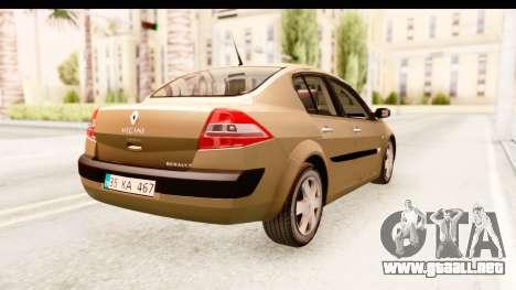 Renault Megane 2 Sedan 2003 para GTA San Andreas vista posterior izquierda