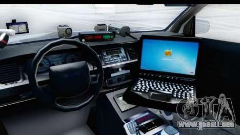 Ford Crown Victoria 2009 Southern Justice para visión interna GTA San Andreas