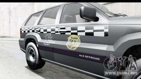 GTA 5 Canis Seminole Taxi para GTA San Andreas vista hacia atrás