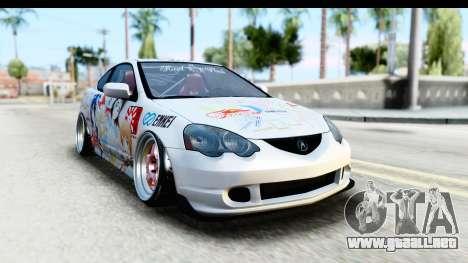 Acura RSX Type S 2002 Nisekoi Itasha para GTA San Andreas vista posterior izquierda