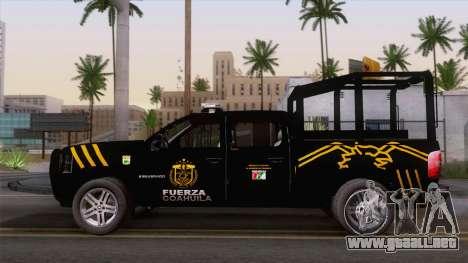 Chevrolet Silverado de la Fuerza Coahuila para GTA San Andreas vista hacia atrás
