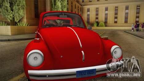 Volkswagen Beetle Escarabajo para GTA San Andreas vista posterior izquierda