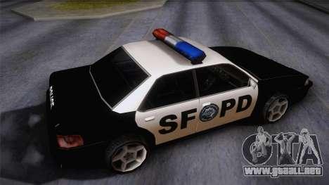 Sultan SFPD para GTA San Andreas vista posterior izquierda