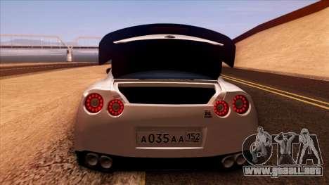 Nissan GT-R R35 para vista inferior GTA San Andreas