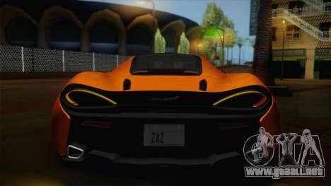 McLaren 570GT 2016 para visión interna GTA San Andreas