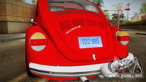 Volkswagen Beetle Escarabajo para la visión correcta GTA San Andreas