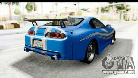 NFS: Carbon Darius Toyota Supra Updated para GTA San Andreas vista posterior izquierda