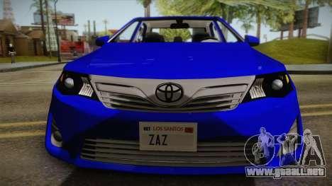 Toyota Camry 2013 para GTA San Andreas vista posterior izquierda