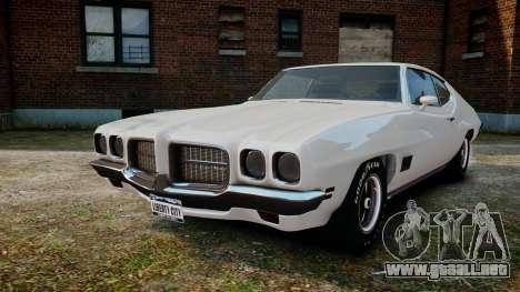 Pontiac LeMans Coupe 1971 para GTA 4 vista hacia atrás