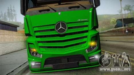 Mercedes-Benz Actros Mp4 6x2 v2.0 Gigaspace v2 para la visión correcta GTA San Andreas