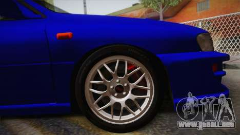 Subaru Impreza WRX STI GC8 1999 v1.0 para GTA San Andreas vista posterior izquierda
