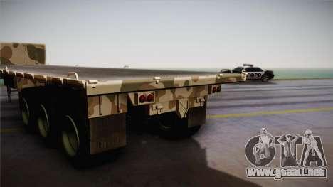 GTA 5 Army Flat Trailer IVF para GTA San Andreas vista posterior izquierda