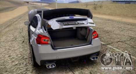Subaru WRX STI LP400 2016 para GTA San Andreas vista hacia atrás
