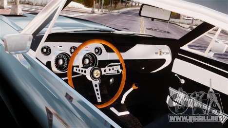 Ford Mustang Shelby GT500 1967 para GTA 4 vista hacia atrás
